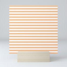 Bright Orange Russet Mattress Ticking Wide Striped Pattern - Fall Fashion 2018 Mini Art Print