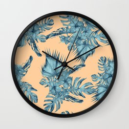 Island Love Hibiscus Palm Orange Teal Blue Wall Clock