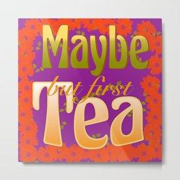 Tea Time Lime Metal Print
