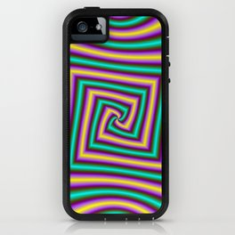 Angular Spiral in Violet Yellow and Turquoise iPhone Case