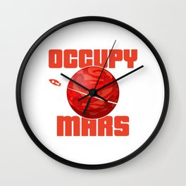Occupy Mars Gift Terraform Planets Aliens Astronomy Wall Clock