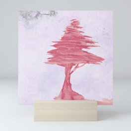 Red Tree watercolor on old paper Mini Art Print