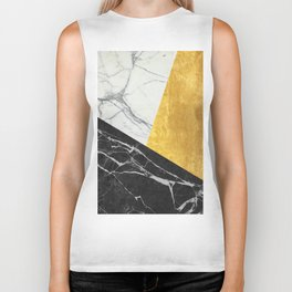 Marble and Gold Abstract Biker Tank