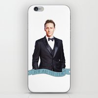 tom hiddleston iPhone & iPod Skins featuring Tom Hiddleston - Flower Crown by River