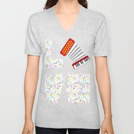 "Simple Music Shirt For Musicians Musician ""Love Accordion"" T-shirt Design Notes Music 13/8 6/4 Unisex V-Neck"