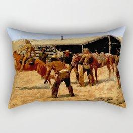 "Frederic Remington Western Art ""Pony Express"" Rectangular Pillow"