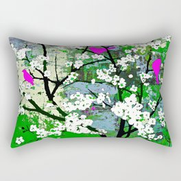 Pink Birds and White Blossoms on Trees Rectangular Pillow