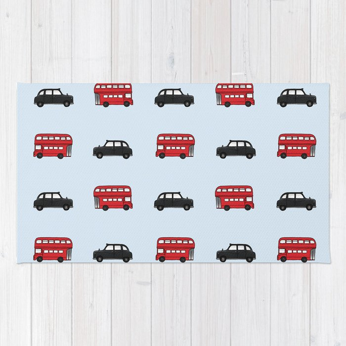 London Buses and Taxis Rug