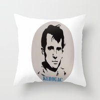kerouac Throw Pillows featuring Jack Kerouac Record Painting by All Surfaces Design