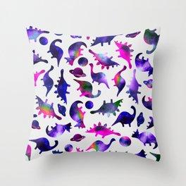 Galaxy Watercolor Pink Purple Dinosaur Pattern Throw Pillow