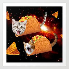 Taco Cats Space Art Print
