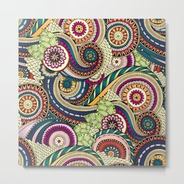Abstract doodle floral pattern Metal Print