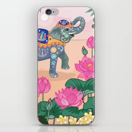 Elephant and Lotus Flowers iPhone Skin