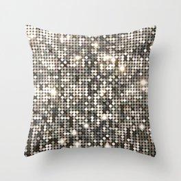 Silver Metallic Glitter sequins Throw Pillow