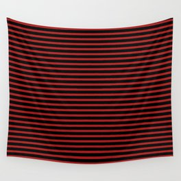 Black and Red Thin Stripes Wall Tapestry