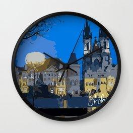 Praha night view Wall Clock