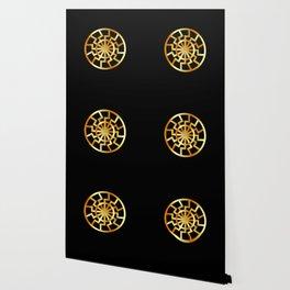 Black Sun symbol in gold- Schwarze Sonne- Occult subculture symbol Wallpaper