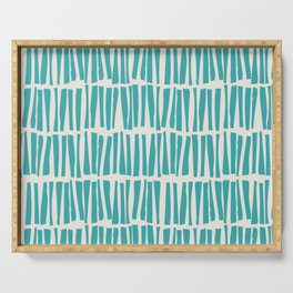 Aqua Teal Turquoise Solid Color Vertical Dash Stripe Line Pattern on Alabaster White - Aquarium SW 6767 Serving Tray