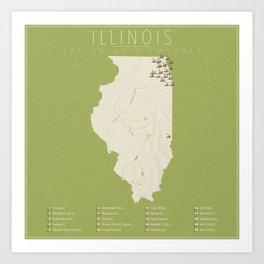 Illinois Golf Courses Art Print