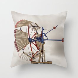 US Wind Engine Vintage Antique Wooden Sectional Windmill Batavia Illinois Throw Pillow