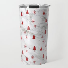 Cute Christmas Trees and Snowflakes Pattern on Marble Travel Mug