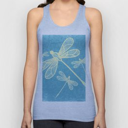 Abstract dragonflies in yellow on textured blue Unisex Tank Top