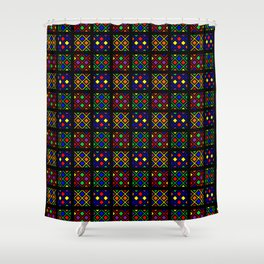 Kente Cloth Ankara Stained Glass Pattern Shower Curtain