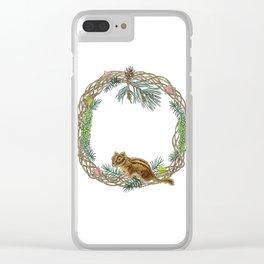 Squirrel wreath Clear iPhone Case