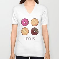 donuts V-neck T-shirts featuring Donuts by Monstruonauta