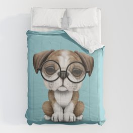 Cute English Bulldog Puppy Wearing Glasses on Blue Comforters