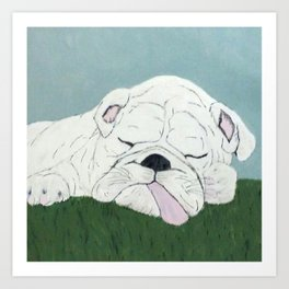 Bulldog Nap Art Print