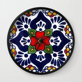 talavera mexican tile in blu Wall Clock