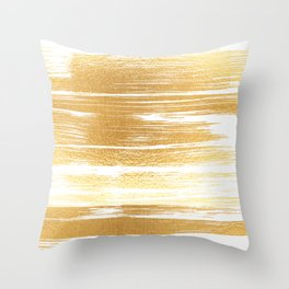 Abstract faux gold white modern paint brushstrokes Throw Pillow
