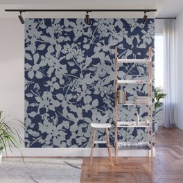 Blue and Grey Floral Pattern - Broken but Flourishing Wall Mural
