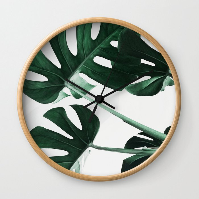 Monstera, Leaves, Plant, Green, Scandinavian, Minimal, Modern, Wall art Wall Clock