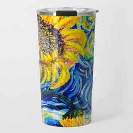 Gorgeous Blue and Yellow Van Gogh Sunflowers Travel Mug