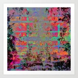 Neon Charred Abstract Art Print
