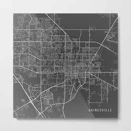 Gainesville Map, USA - Gray Metal Print