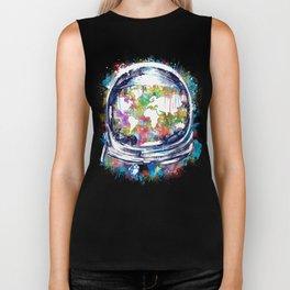 astronaut world map colorful Biker Tank
