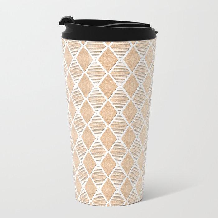 White and Copper Geometric Pattern Metal Travel Mug