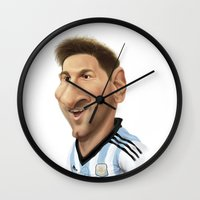 messi Wall Clocks featuring Messi - Argentina by Sant Toscanni