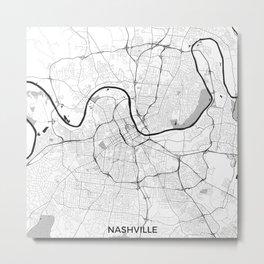 Nashville Map Gray Metal Print