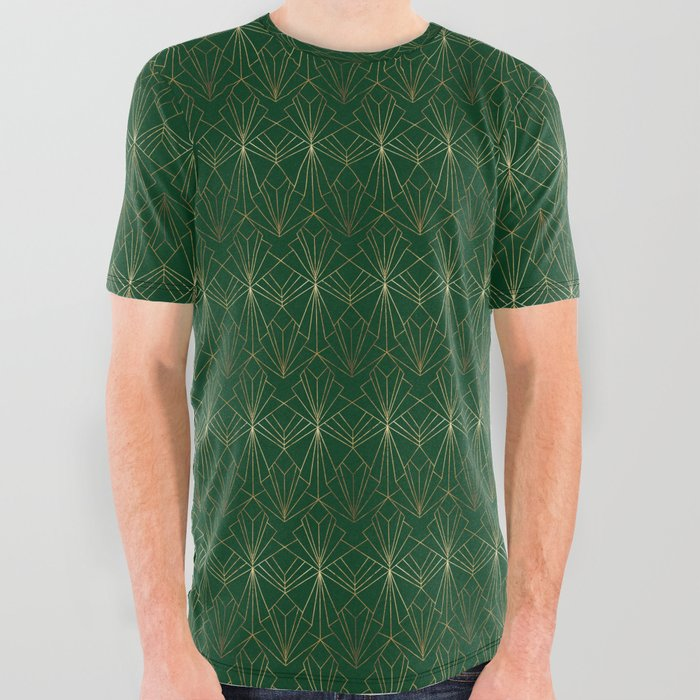 Art_Deco_in_Gold_&_Green_All_Over_Graphic_Tee_by_Wellington_Boot__Small