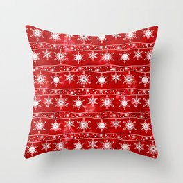 Openwork white snowflakes on red Throw Pillow
