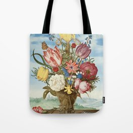 Bouquet of Flowers on a Ledge by Bosschaert Tote Bag