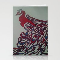 steelers Stationery Cards featuring Royal Blue and Red Abstract Peacock Painting by Melissa's Art