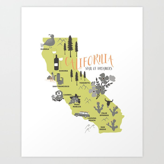 California Map Art Print By Willhouse1 Society6