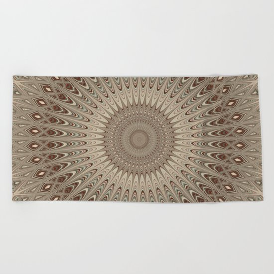 Beige mandala Beach Towel