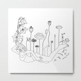 Flower Balloon Girl Minimal Line Art Metal Print