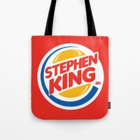 stephen king Tote Bags featuring Stephen King by Alejo Malia